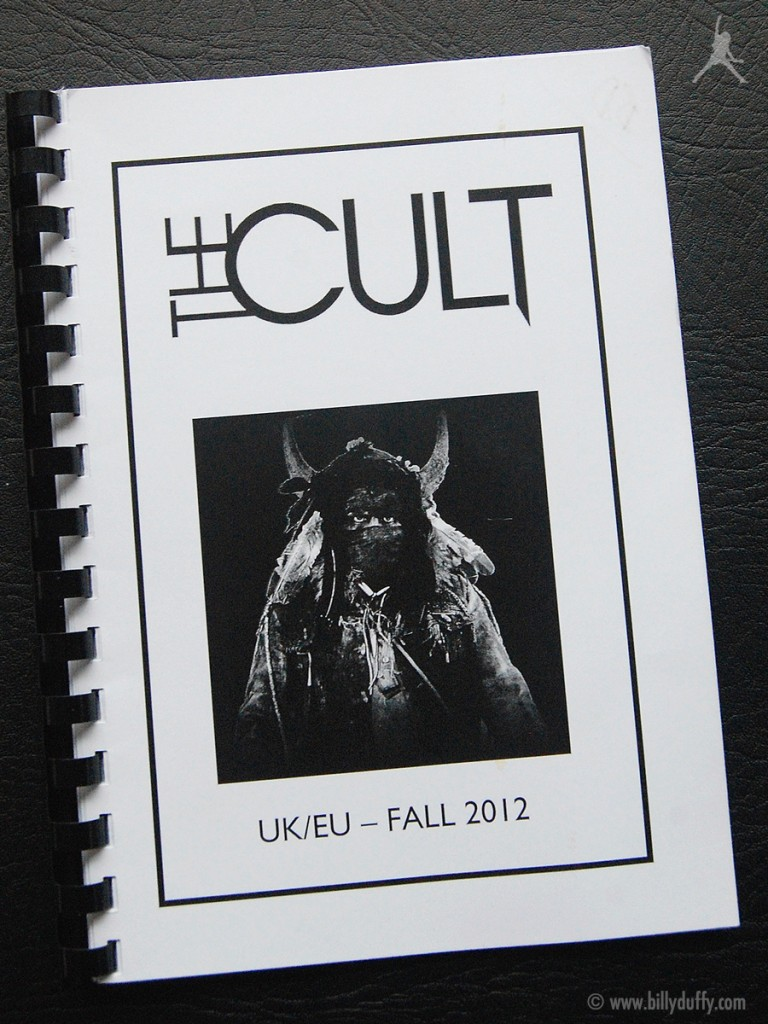 Billy Duffy's itinerary book from The Cult 'Choice of Weapon' Tour - 2012