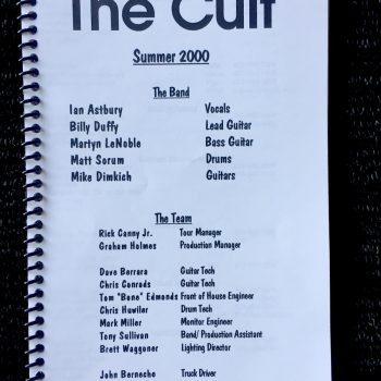 Billy's itinerary book from The Cult US Tour – 2000