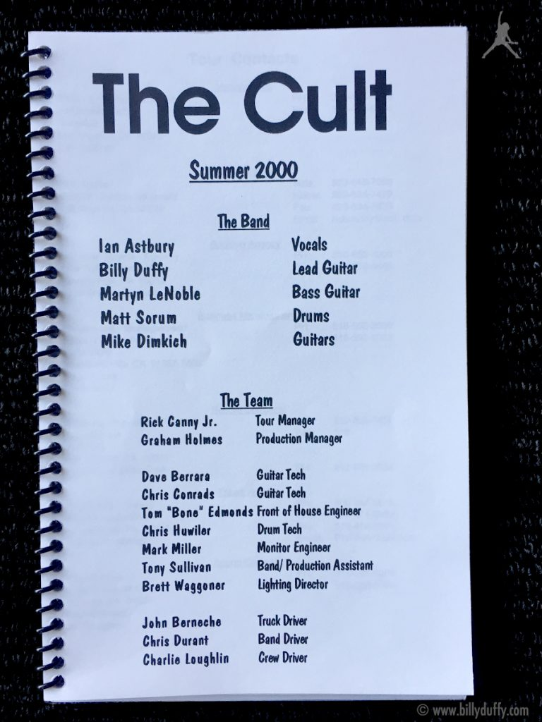 Billy Duffy's itinerary book from The Cult US Tour - Summer 2000