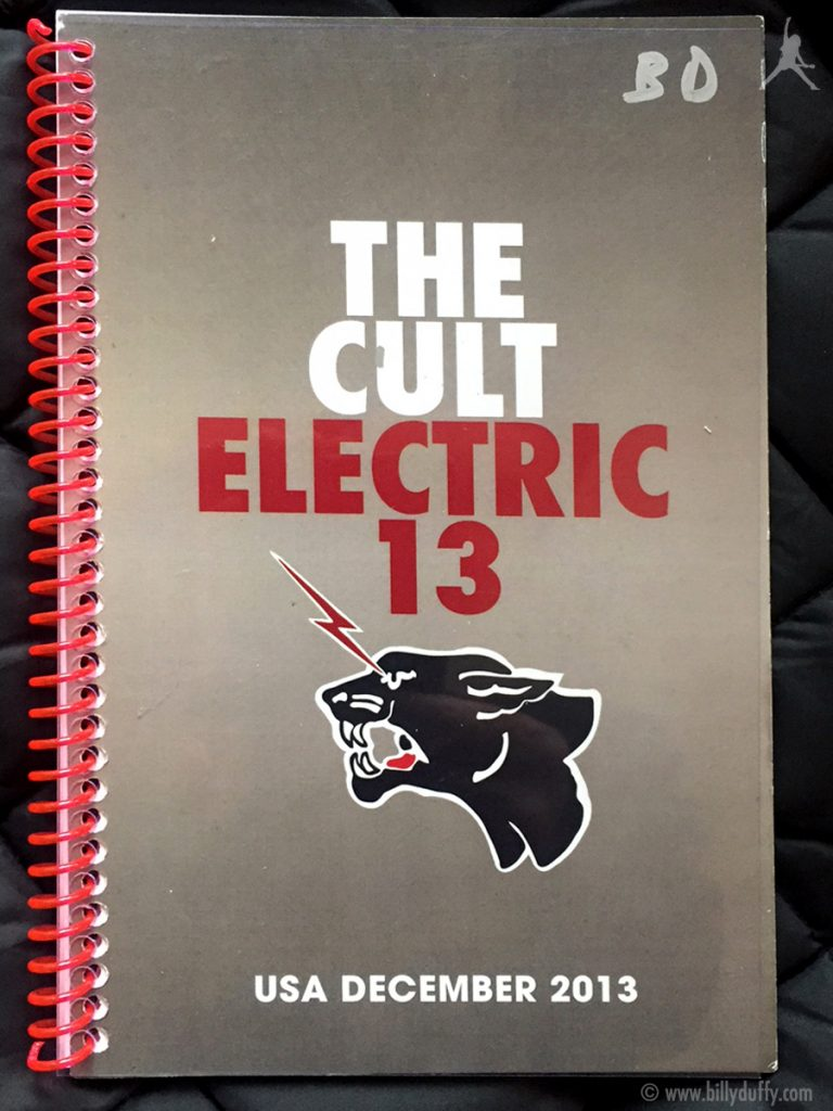 Billy Duffy's itinerary book from The Cult 'Electric 13' Tour