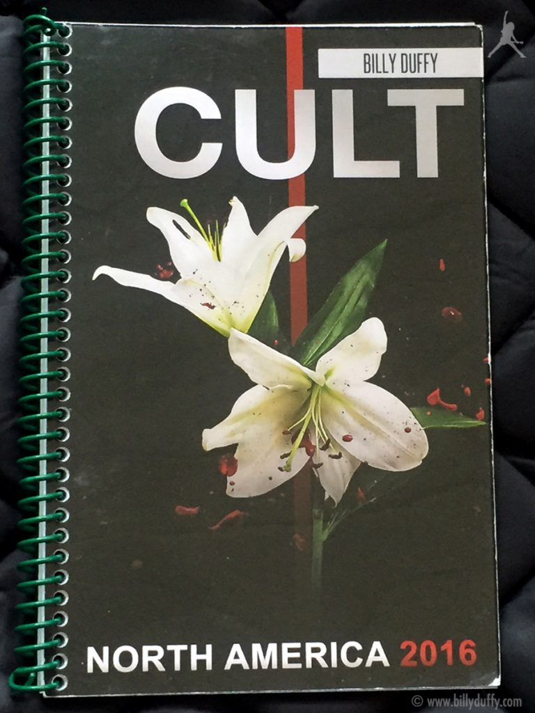 Billy Duffy's itinerary book from The Cult 'Alive in the Hidden City' Tour - North America 2016