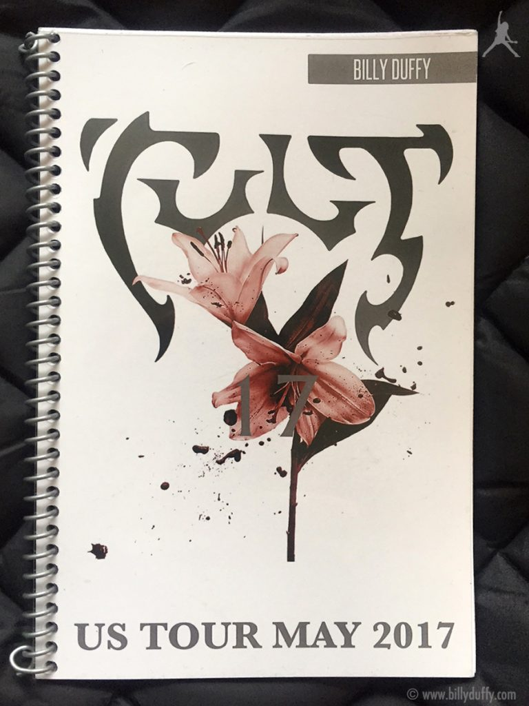 Billy Duffy's itinerary book from The Cult 'Alive in the Hidden City' Tour - US May 2017
