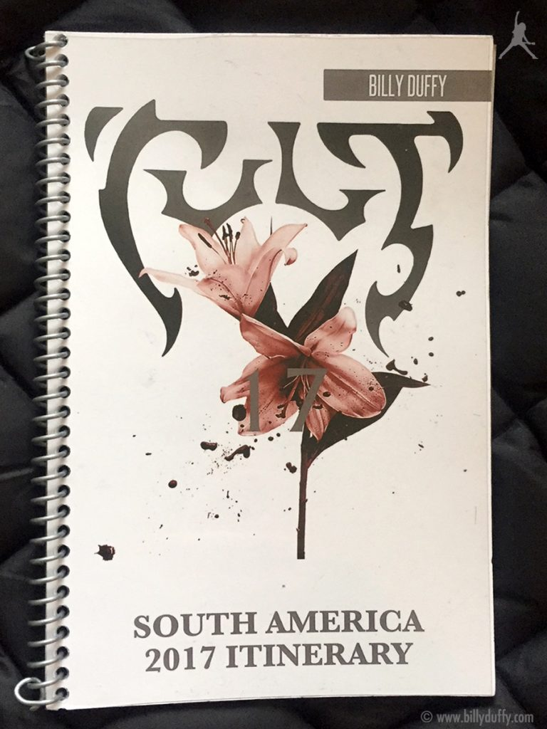 Billy Duffy's itinerary book from The Cult 'Alive in the Hidden City' Tour - South America Fall 2017