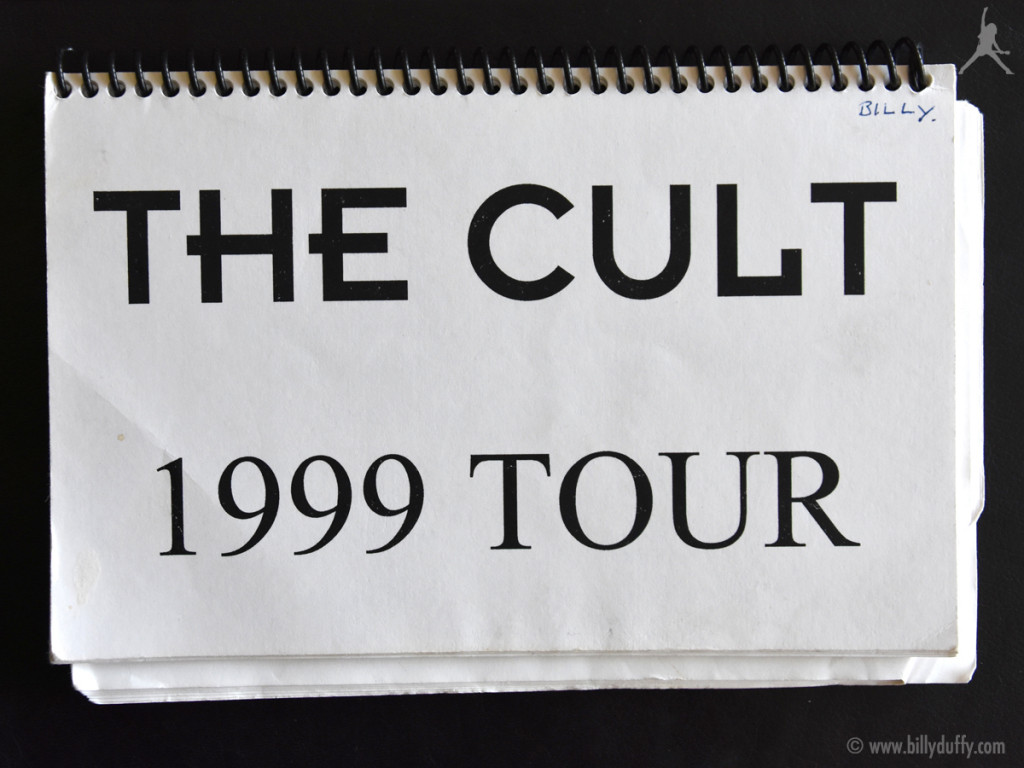 Billy's itinerary book from The Cult 1999 tour