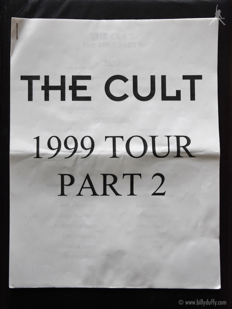 Billy's itinerary book from The Cult 1999 tour Pt 2