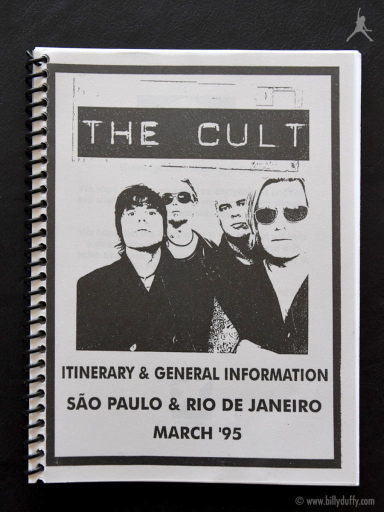 Billy's itinerary book from The Cult in Brazil - 1995