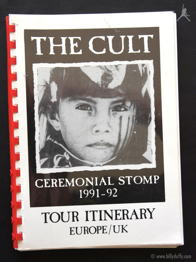 Billy Duffy's itinerary book from The Cult 'Ceremonial Stomp' Tour -1991