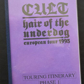 Billy's itinerary book from The Cult 'Hair of the Underdog' Tour -1993
