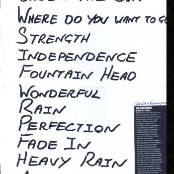 Coloursound set list 21-09-1998