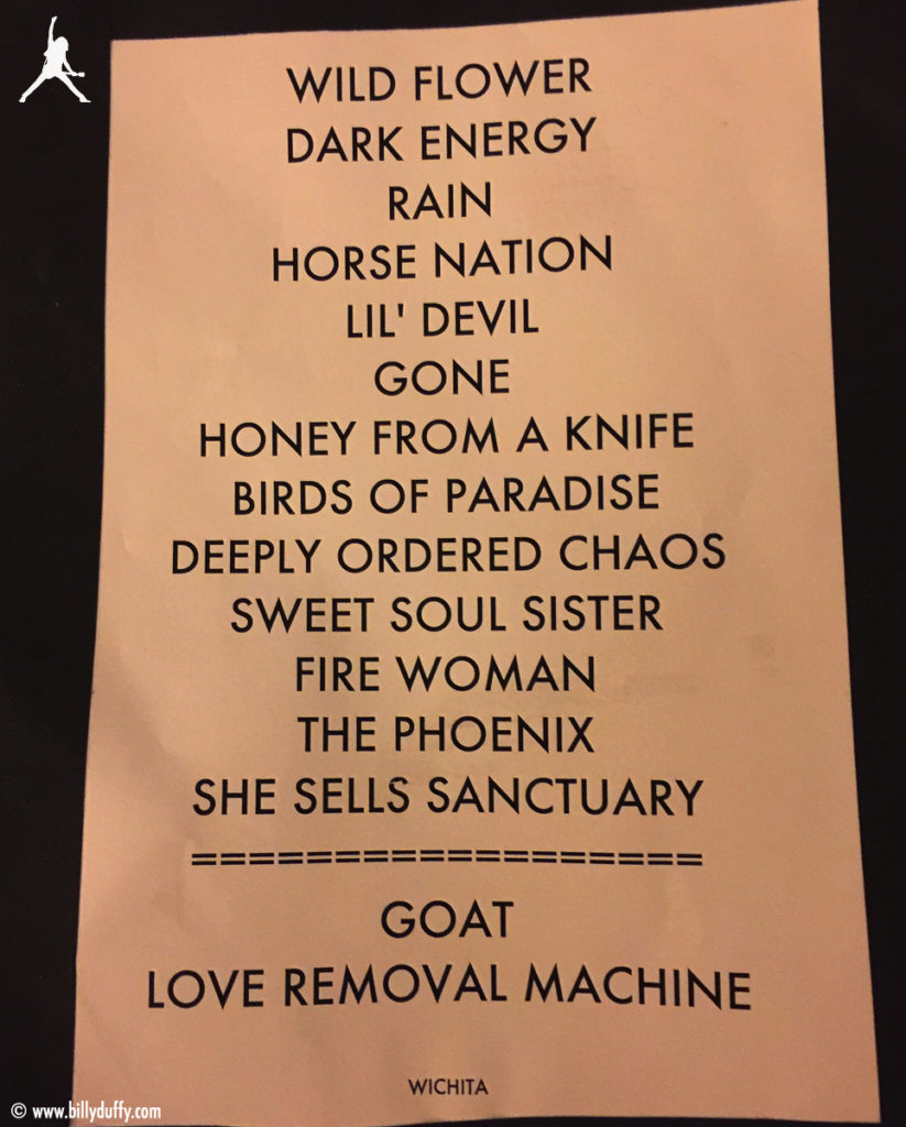 The Cult Set List 27-09-2016