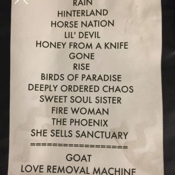 The Cult Set List 30-09-2016