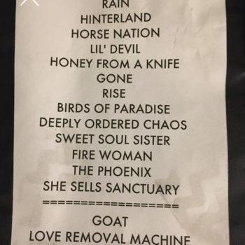 The Cult Set List 30-09-2016