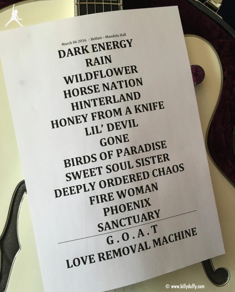 The Cult Set List 06-03-2016