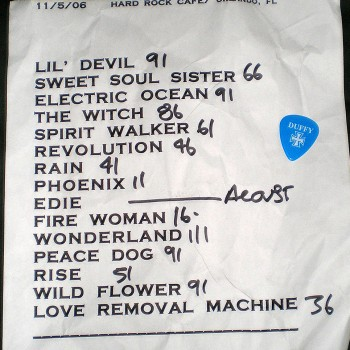 The Cult Set List 05-11-2006