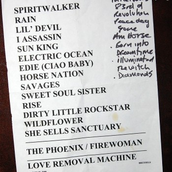 The Cult Set List 07-03-2008