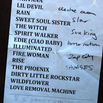 The Cult Set List 16-11-2008