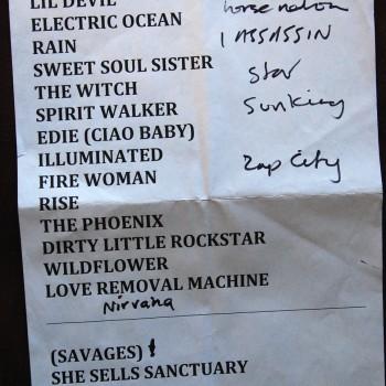 The Cult Set List 20-01-2009