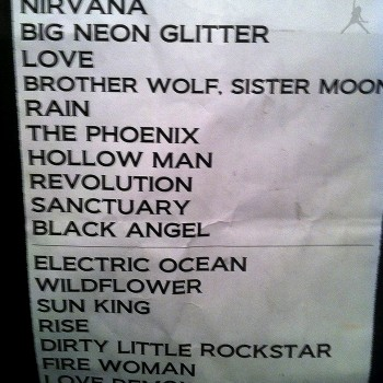 The Cult Set List 06-09-2009