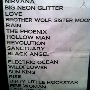 The Cult Set List 06-09-2009