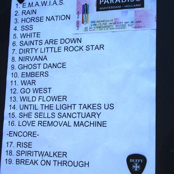 The Cult Set List 05-02-2011