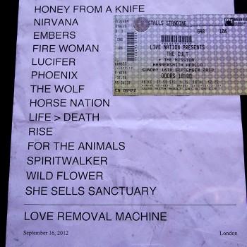 The Cult Set List 16-09-2012