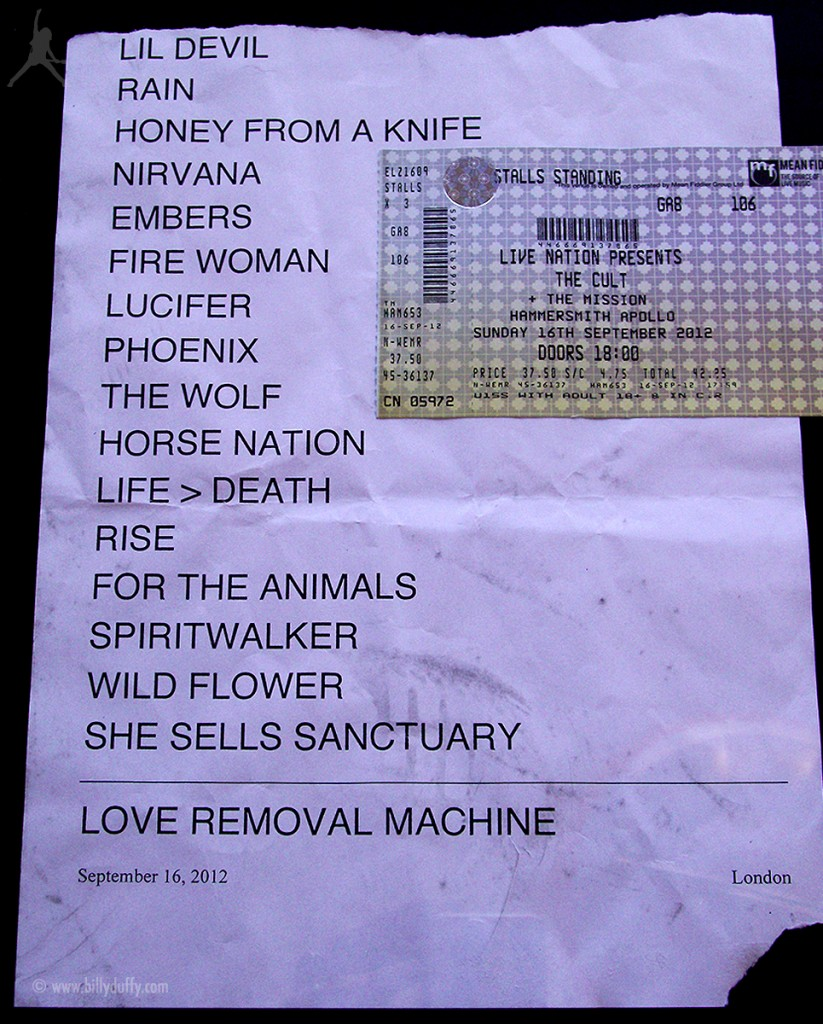 The Cult Set List 16-09-2012