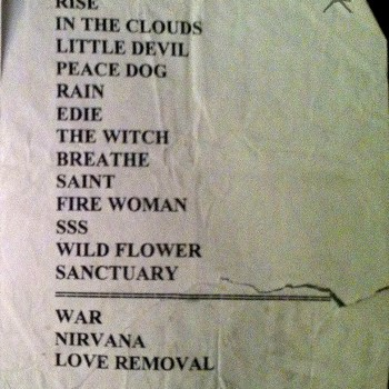 The Cult Set List 09-05-2001