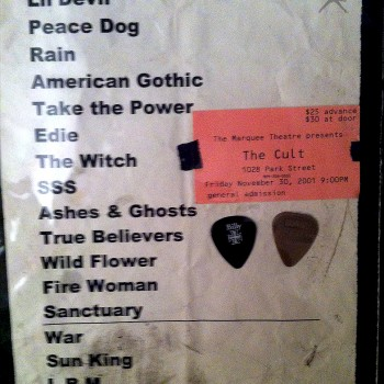 The Cult Set List 30-11-2001
