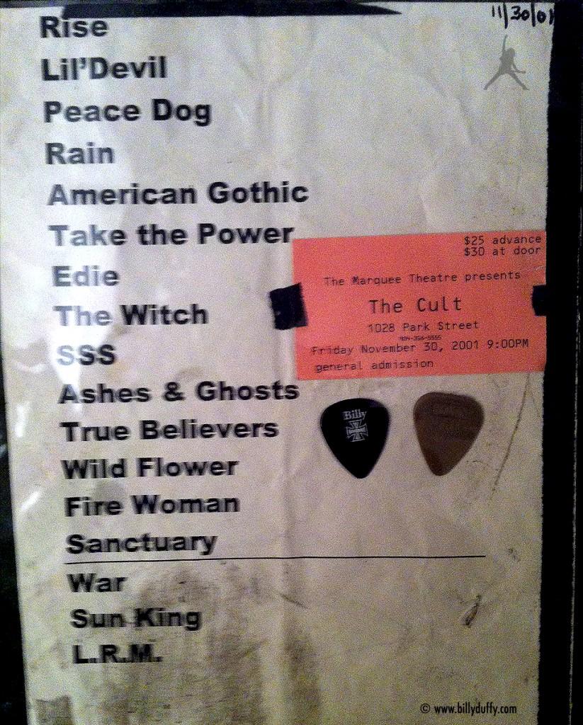 The Cult Set List 30-11-2001