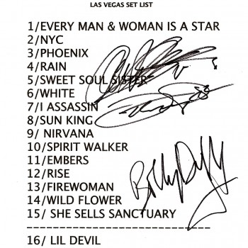 The Cult set list 16-09-2010