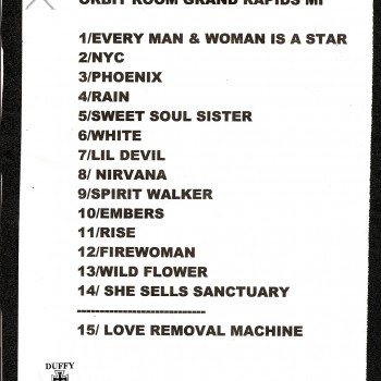The Cult set list 17-11-2010