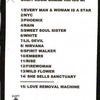 The Cult set list 17-11-2010