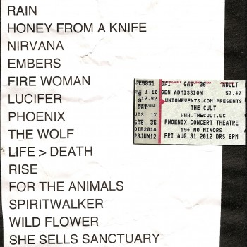 The Cult set list 31-08-2012