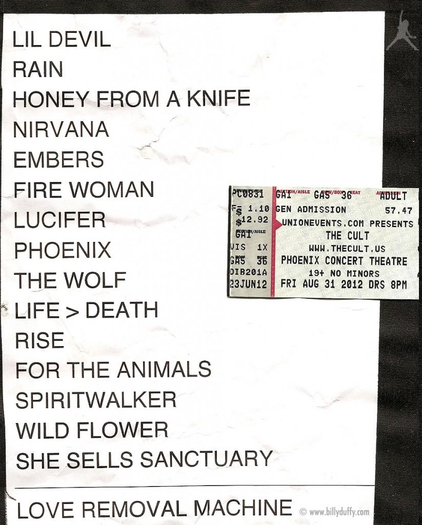The Cult set list 31-08-2012