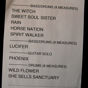 The Cult Set List 18-04-2014 (Coachella Week 2)