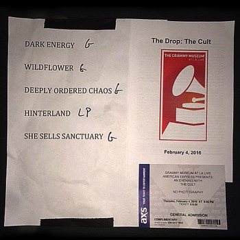 The Cult Set List at 'Hidden City' Launch 04-02-2016