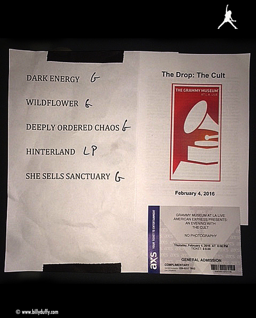 The Cult Set List 04-02-2016 'Hidden City' Launch