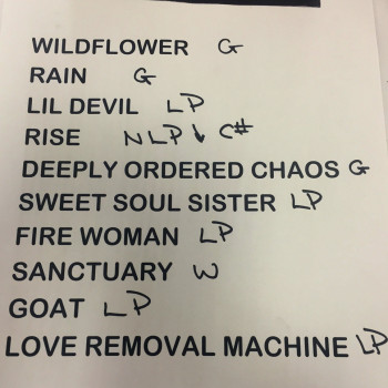 The Cult Set List 19-04-2016