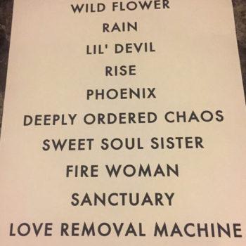 The Cult set list 03-08-2016