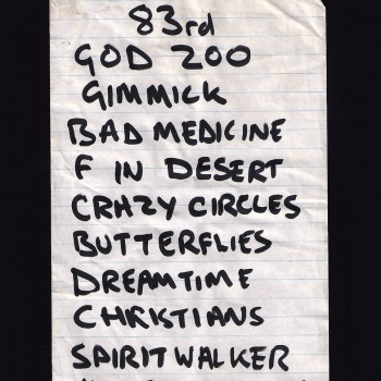 The Cult Set List 'Dreamtime Tour' 1984
