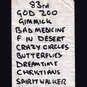 The Cult Set List 'Dreamtime Tour' 1984