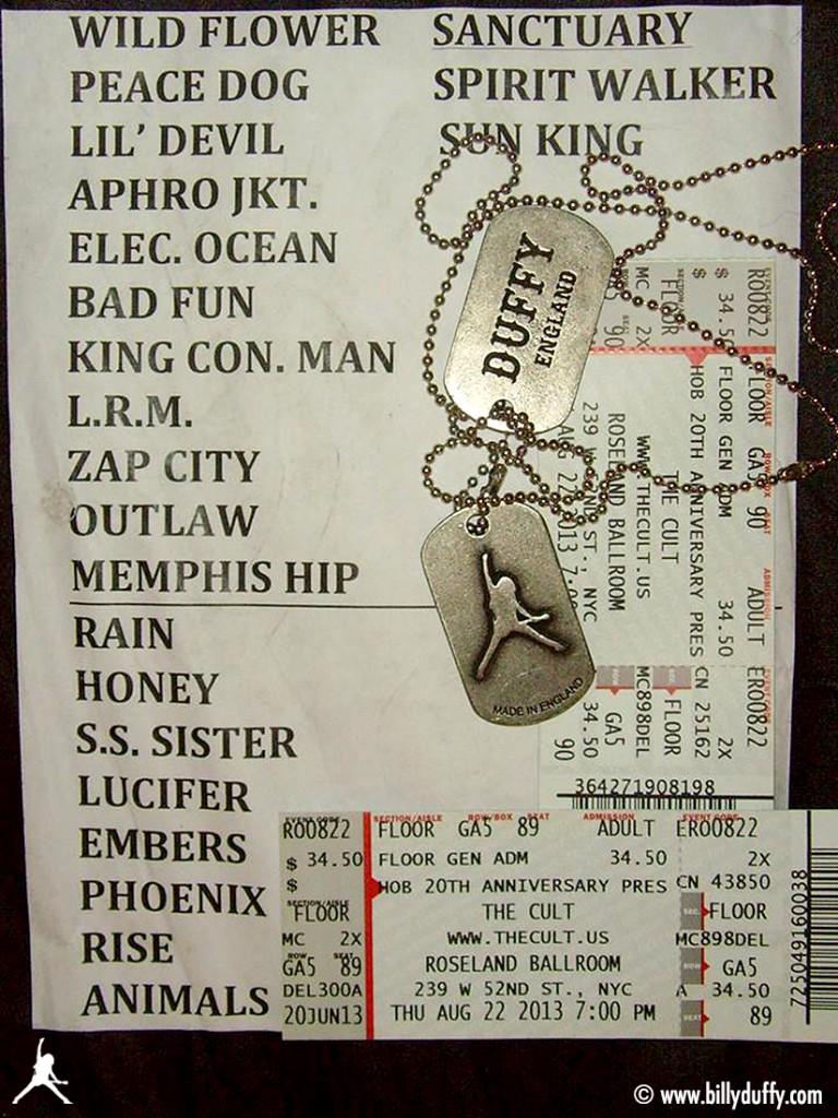 The Cult Set List 22-08-2013