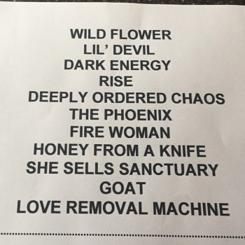 The Cult Set list 05-05-2017