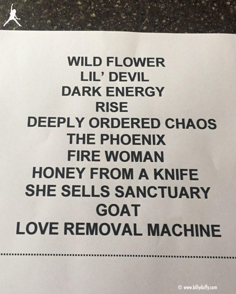 The Cult Set list 05-05-2017