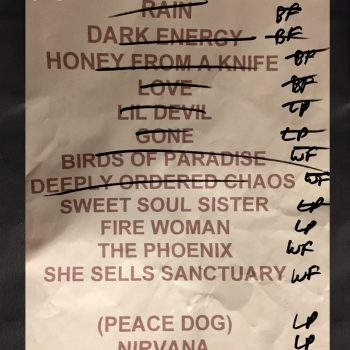 The Cult set list 12-05-2017