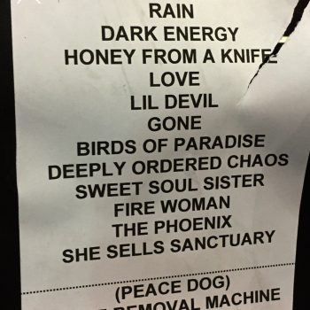 The Cult set list 13-05-2017