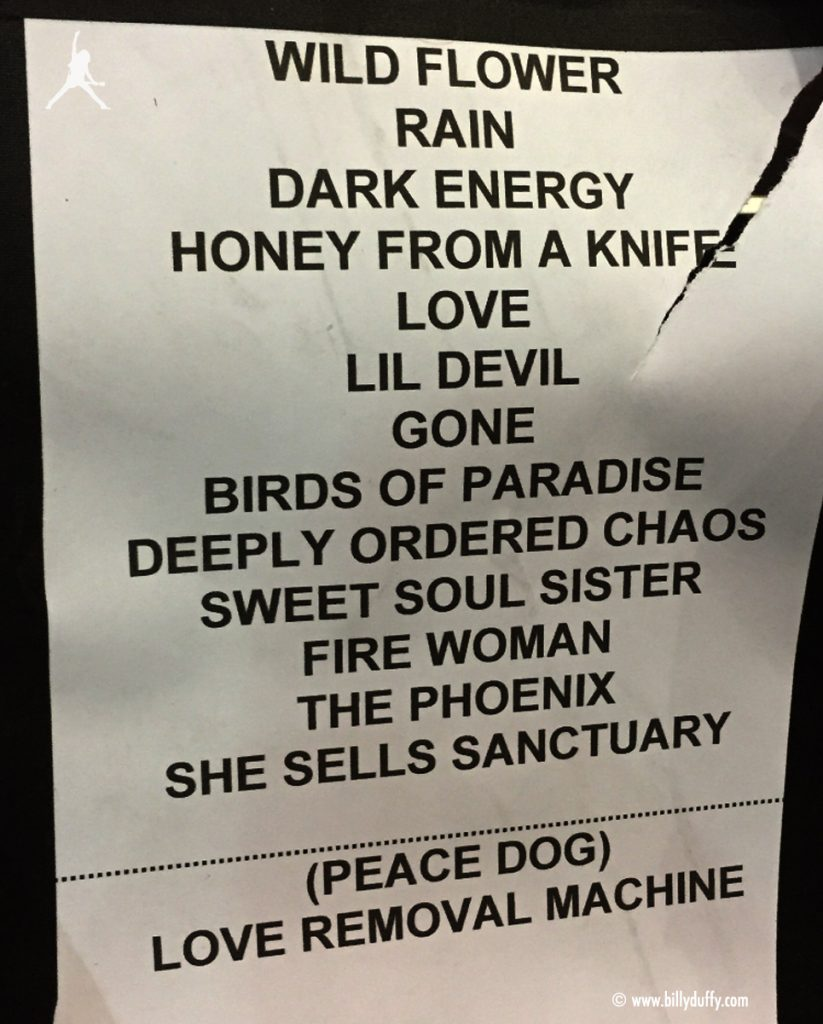 The Cult set list 13-05-2017