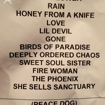 The Cult set list 19-05-2017