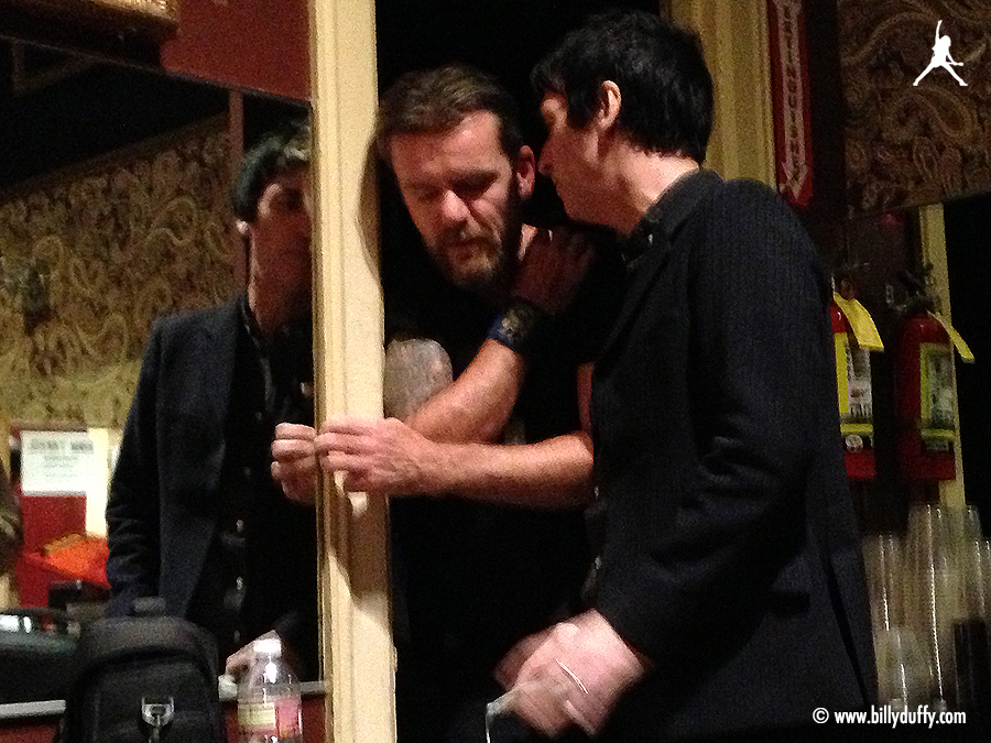 Billy and Johnny Marr chat backstage at the Fillmore, San Francisco