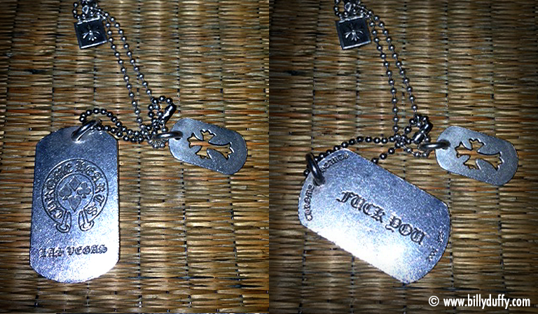 Billy Duffy F U dog tags